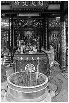 Quan Cong altar in Ong Chinese Pagoda. Tra Vinh, Vietnam (black and white)