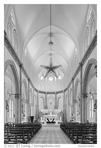 Church interior. Tra Vinh, Vietnam (black and white)
