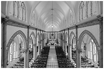Church nave. Tra Vinh, Vietnam ( black and white)