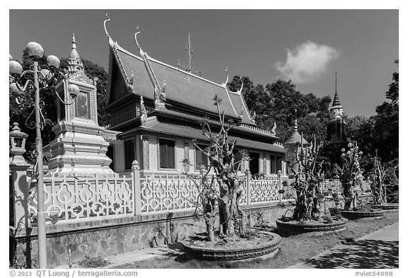 Hang Pagoda in Khmer style. Tra Vinh, Vietnam (black and white)