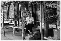 Woman at retreat hut, Hang Pagoda. Tra Vinh, Vietnam ( black and white)