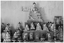 Buddha statues, Hang Pagoda. Tra Vinh, Vietnam (black and white)
