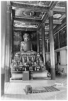 Buddhas in main temple, Hang Pagoda. Tra Vinh, Vietnam (black and white)
