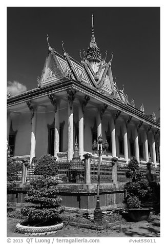 Pagoda in Khmer style. Tra Vinh, Vietnam (black and white)
