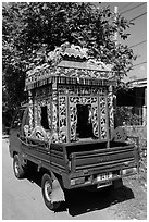Funeral vehicle. Tra Vinh, Vietnam (black and white)
