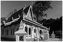 Ang Pagoda in Khmer style. Tra Vinh, Vietnam ( black and white)