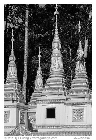 Stupas, Ang Pagoda. Tra Vinh, Vietnam (black and white)