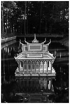 Spirit house on small pond. Tra Vinh, Vietnam ( black and white)