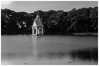 Spirit house in large pond. Tra Vinh, Vietnam ( black and white)