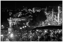 Mekong River waterfront at night from above. Can Tho, Vietnam (black and white)