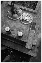 Traditional offering to the deceased. Ben Tre, Vietnam (black and white)
