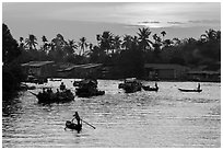 Boats and river at sunrise, Phung Diem. Can Tho, Vietnam ( black and white)