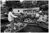 Floating market, Phung Diem. Can Tho, Vietnam ( black and white)