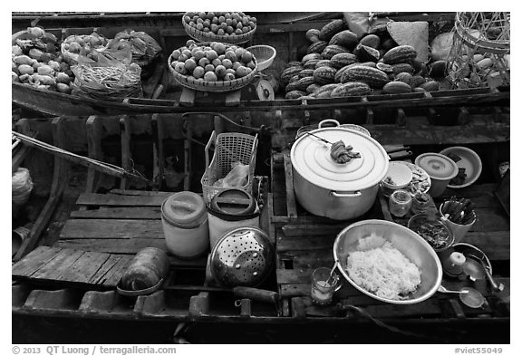 Boat with pho noodles, Phung Diem. Can Tho, Vietnam (black and white)