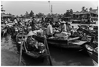 Large gathering of boats at Phung Diem floating market. Can Tho, Vietnam ( black and white)