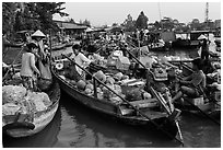 Produce transaction on Phung Diem floating market. Can Tho, Vietnam ( black and white)