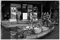 Riverside gas station. Can Tho, Vietnam (black and white)