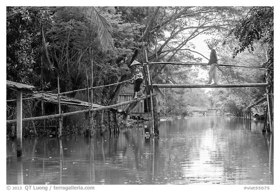 Villagers crossing monkey bridge. Can Tho, Vietnam (black and white)