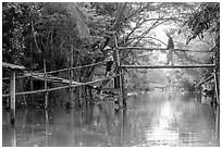Villagers crossing monkey bridge. Can Tho, Vietnam ( black and white)
