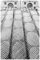 Drying rice paper wrappers. Can Tho, Vietnam ( black and white)