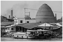 Boats and brick ovens. Sa Dec, Vietnam ( black and white)