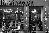 Store selling exercise equipment. Ho Chi Minh City, Vietnam ( black and white)