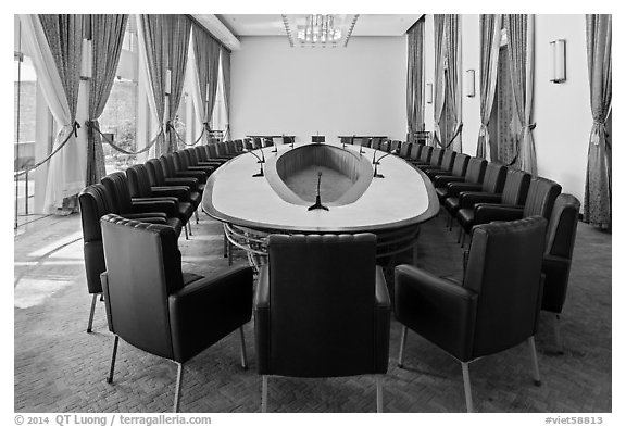 Cabinet meeting room, Independence Palace. Ho Chi Minh City, Vietnam (black and white)