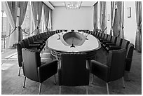 Cabinet meeting room, Independence Palace. Ho Chi Minh City, Vietnam ( black and white)