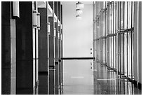 Corridor with shiny floor, Reunification Palace. Ho Chi Minh City, Vietnam ( black and white)