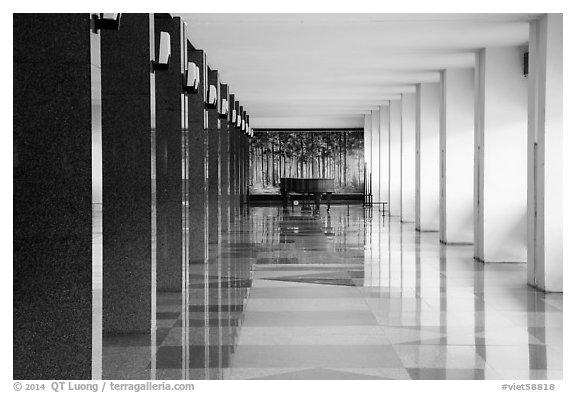 Corridor, piano, and reflections, Reunification Palace. Ho Chi Minh City, Vietnam (black and white)