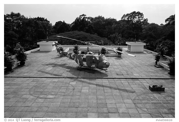 Terrace with helicopter, Reunification Palace. Ho Chi Minh City, Vietnam (black and white)