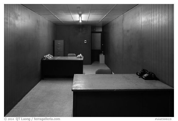 Military communications room, Independence Palace. Ho Chi Minh City, Vietnam (black and white)