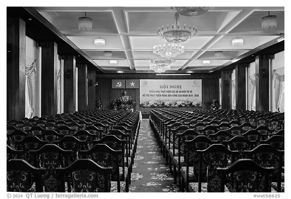 Conference Hall, Reunification Palace. Ho Chi Minh City, Vietnam (black and white)