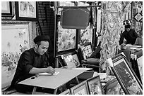 Caligraphers at lunar new year market. Ho Chi Minh City, Vietnam ( black and white)