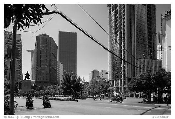 Statue of hero Tran Hung Dao and high-rises. Ho Chi Minh City, Vietnam (black and white)