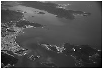 Aerial view of Nha Trang and Nha Trang Bay. Vietnam ( black and white)