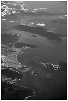 Aerial view of Nha Trang Bay and Van Phong Bay. Vietnam ( black and white)