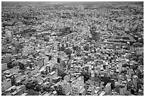 Aerial view of multi-story buidings. Ho Chi Minh City, Vietnam ( black and white)