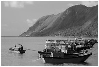 Fishing boats and hills, Con Son. Con Dao Islands, Vietnam ( black and white)