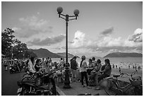 Waterfront becomes animated in late afternoon, Con Son. Con Dao Islands, Vietnam ( black and white)
