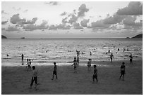 Main Con Son Beach at sunset. Con Dao Islands, Vietnam ( black and white)