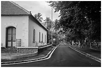 Old custom house and street, Con Son. Con Dao Islands, Vietnam ( black and white)
