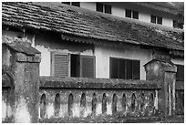 Facade of colonial-area building, Con Son. Con Dao Islands, Vietnam ( black and white)