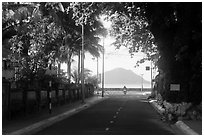 Street leading to the bay, Con Son. Con Dao Islands, Vietnam ( black and white)