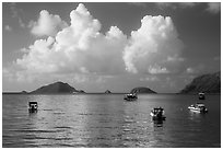 Boats, islets, and clouds, Con Son Bay. Con Dao Islands, Vietnam ( black and white)