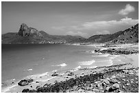 Turquoise water and Ba Island. Con Dao Islands, Vietnam ( black and white)