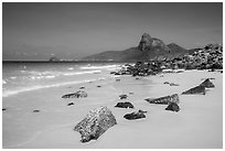 White sands and rocks, Nhat Beach. Con Dao Islands, Vietnam ( black and white)