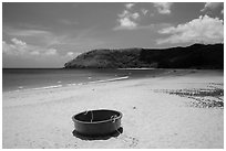 Coracle on Dam Trau Beach. Con Dao Islands, Vietnam ( black and white)