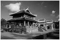 Shrine and gate, Hang Duong Cemetery. Con Dao Islands, Vietnam ( black and white)