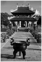 Urn and shrine, Hang Duong Cemetery. Con Dao Islands, Vietnam ( black and white)
